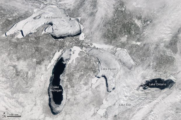 Great Lakes frozen over