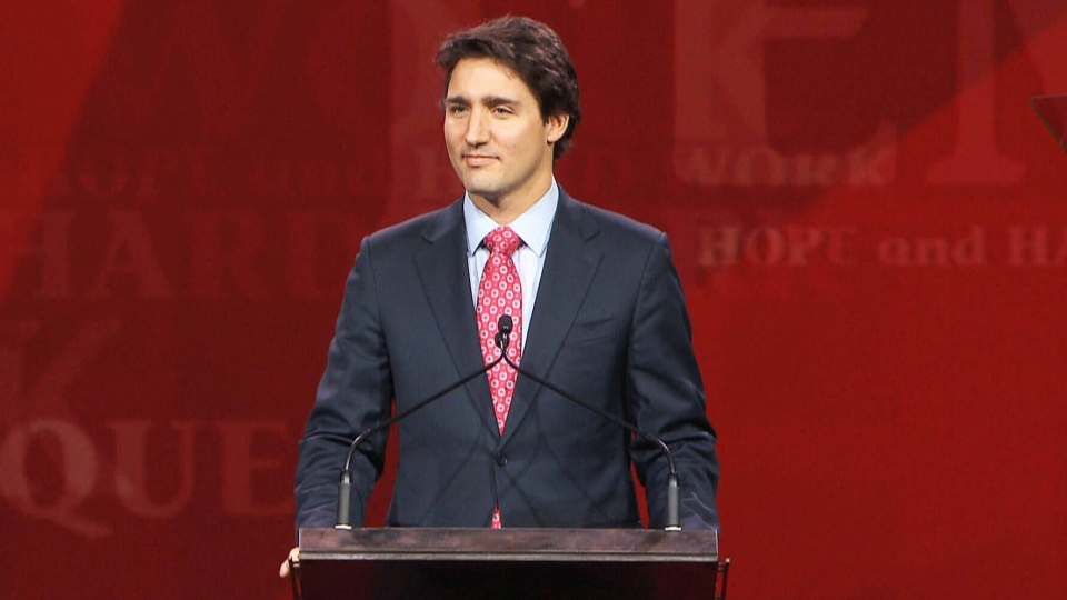 Liberal leader Justin Trudeau speaks at the biennial Liberal convention in Montreal on Saturday, Feb. 22, 2014.