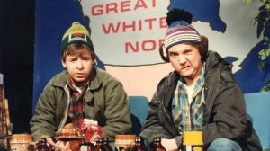 Rick Moranis (left) and Dave Thomas, as the characters Bob and Doug McKenzie in a scene from the 'SCTV' comedy series.