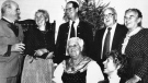 In this Jan. 19, 1984 file photo, members of the Von Trapp family gathered at the new Trapp Family Lodge in Stowe, Vt., to celebrate the birthday of Maria Von Trapp, centre. (AP Photo/Toby Talbot, File)