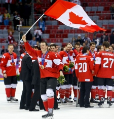 Canadian flag Jonathan Toews gold medal