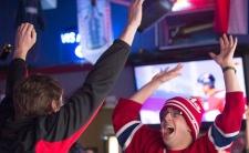 Hockey fans celebrate