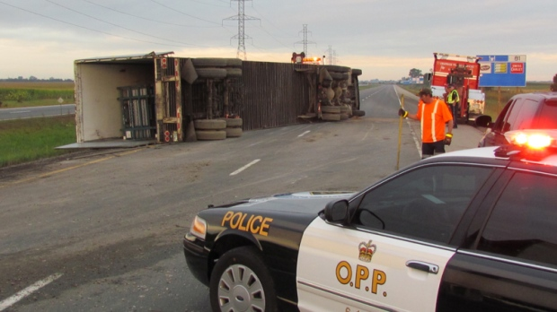 Truck roll over on Highway 401 at Chatham Tuesday, September 20, 2011