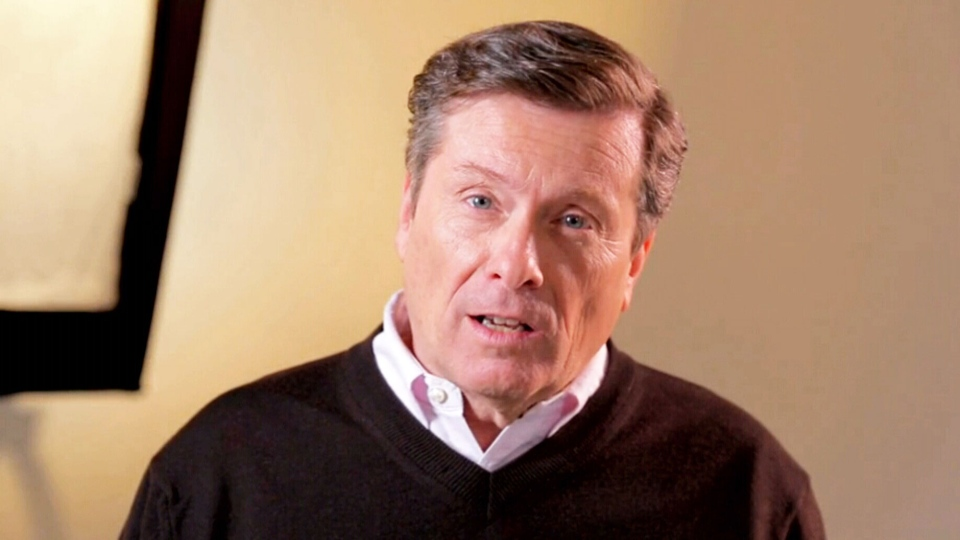 John Tory appears in a campaign video announcing his candidacy for Toronto Mayor.
