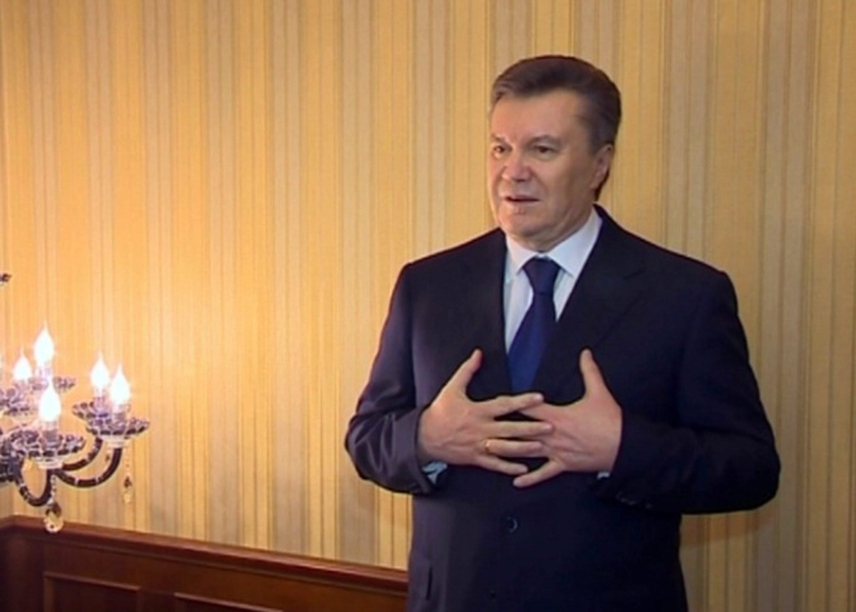 In this image made from video released by the Regional Administration of Kharkiv and distributed by AP Video, Viktor Yanukovych, president of Ukraine, speaks in Kharkiv Saturday, Feb. 22, 2014. (AP Photo / Regional Administration of Kharkiv)