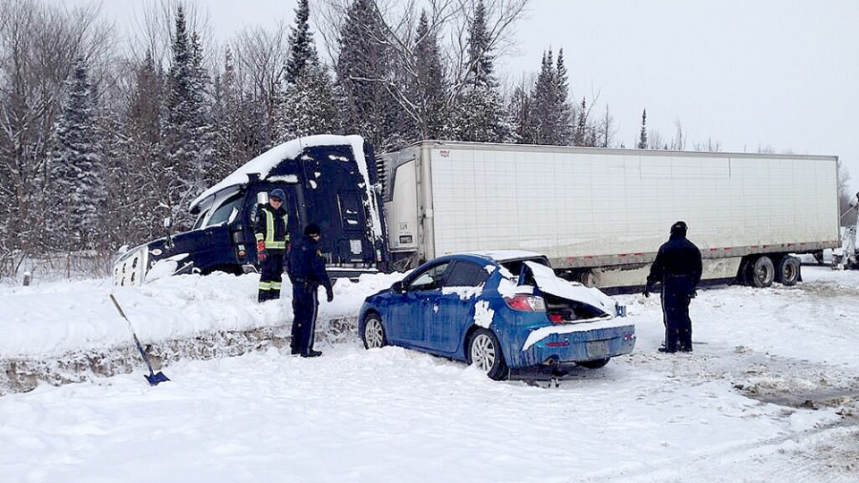 One person is dead and another injured after a crash on Highway 400 near Highway 12 Feb. 24, 2014. (Mike Walker / CTV Barrie)