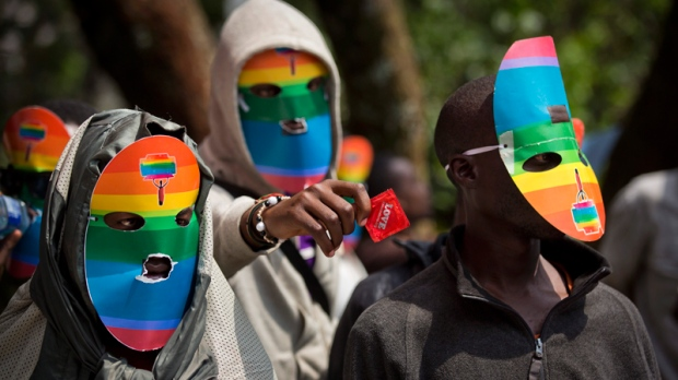 Protesting Uganda's anti-gay laws in Kenya