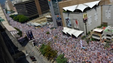 Protesters fill an avenue in Caracas, Venezuela