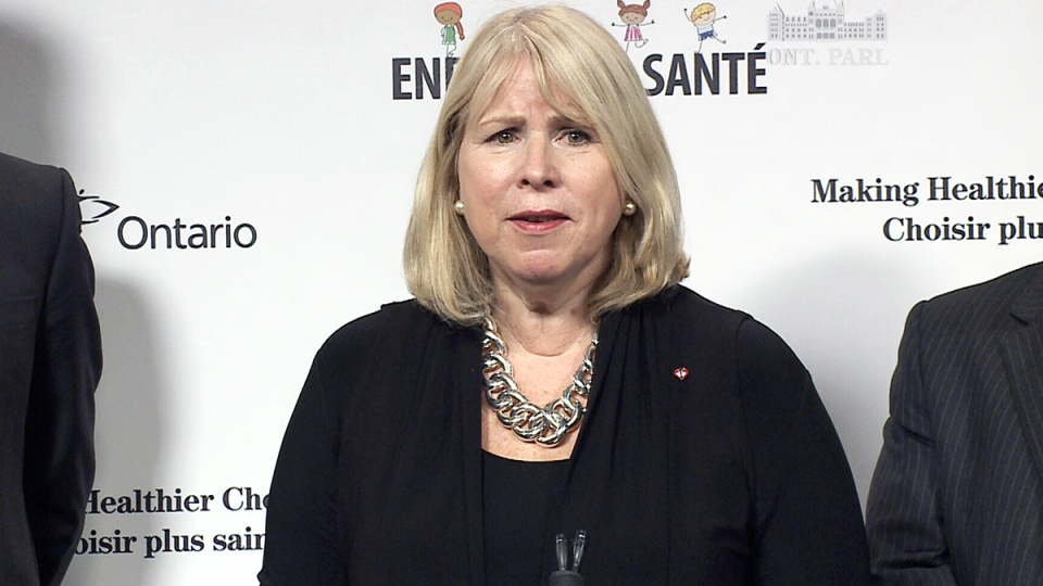 Ontario Health Minister Deb Matthews speaks about new legislation requiring restaurants to post calorie counts on their menus, at Queen's Park in Toronto, Monday, Feb. 24, 2014.