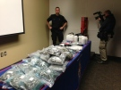 London police display drugs seized in a bust at a press conference on Monday, Feb. 24, 2014. (NIck Paparella / CTV London)