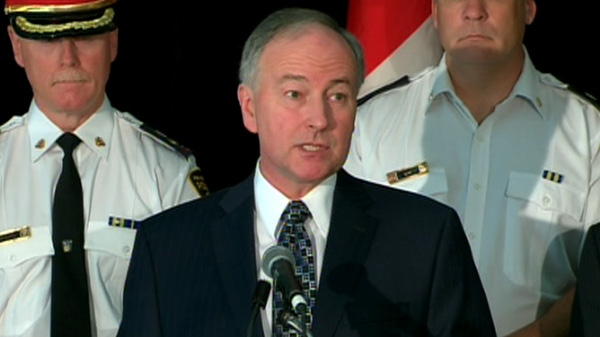 Justice Minister Rob Nicholson speaks at press conference in Brampton, Ont., Tuesday, Sept. 20, 2011.