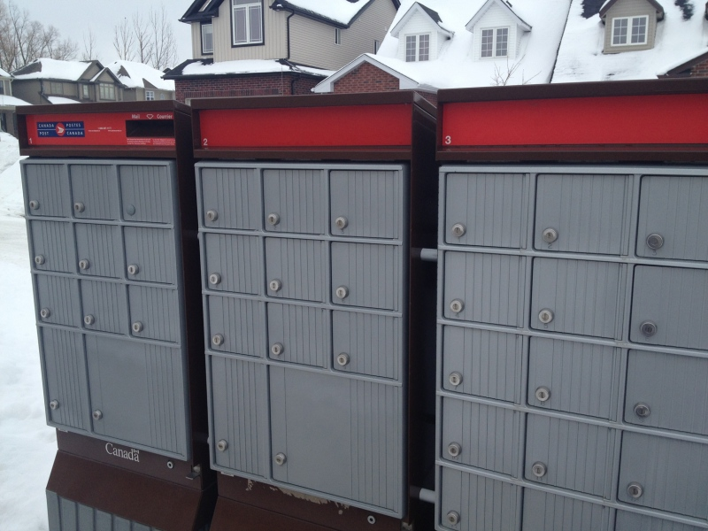 A Canada Post community mailbox is seen in Guelph, Ont., on Thursday, Feb. 20, 2014. (David Imrie / CTV Kitchener)