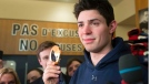 Montreal Canadiens and Team Canada goaltender Carey Price shows his gold medal to the media at the team's practice facility Monday, February 24, 2014 in Brossard, Que. (Ryan Remiorz / THE CANADIAN PRESS)