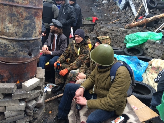 Protesters display 'a new mood' at the barricades in Kyiv, Ukraine. (Paul Workman/CTV News)