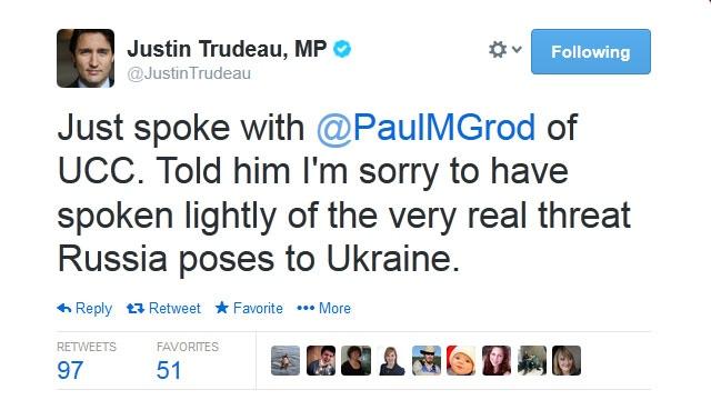 Trudeau apologizes for joke about Ukraine