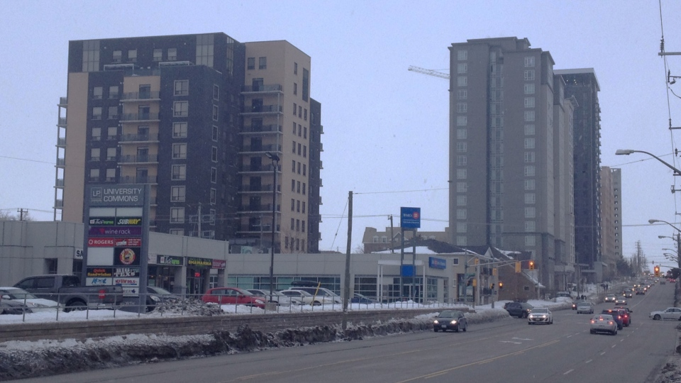 Condo towers are seen from King Street in Waterloo, Ont., on Tuesday, Feb. 25, 2014. (Marc Venema / CTV Kitchener)