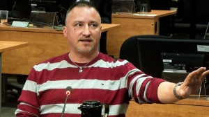 FTQ-C unon organizer Bernard 'Rambo' Gauthier is seen in a frame grab from the video feed at the Charbonneau inquiry looking into corruption in the Quebec construction industry Tuesday, February 25, 2014 in Montreal.(Charbonneau Commision)