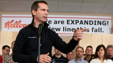 Liberal Leader Dalton McGuinty speaks during a campaign stop at the Kellogg's factory in Belleville, Ont. on Wednesday, Sept. 21, 2011. (Lars Hagberg / THE CANADIAN PRESS)