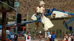 Statue of iconic blonde Marilyn Monroe stands at her new home in downtown Palm Springs Wednesday May 16, 2012. (AP Photo/Irfan Khan, Los Angeles Times)