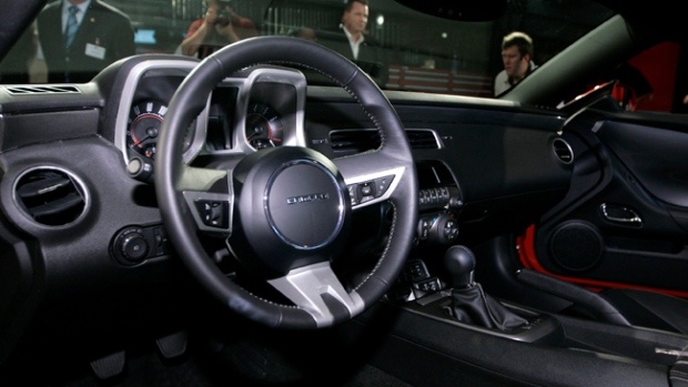 An interior view of General Motors' new 2010 Camaro is seen at the GM Design Center in Warren, Mich., Monday, July 21, 2008. Assembly for the new production car will begin in February 2009 at the Oshawa, Ont. facility. (AP / Carlos Osorio)