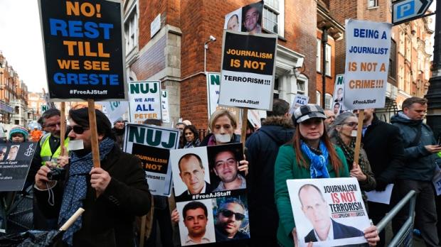 Protest at Egypt's embassy, London U.K.
