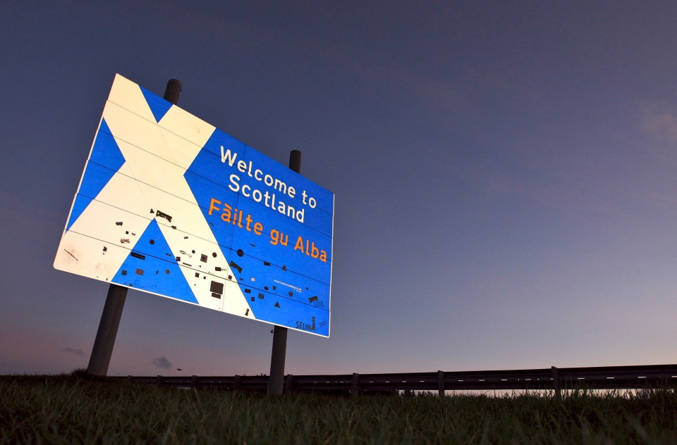 A view of a 'Welcome to Scotland' sign at the Scottish border, Scotland Friday, Jan. 13, 2012. (AP / Scott Heppell)