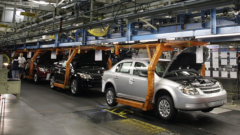 In this Thursday, Aug. 21, 2008, file photo, the Chevy Cobalt moves on the assembly line at the Lordstown Assembly Plant Thursday Aug. 21, 2008. (AP / Ron Schwane)