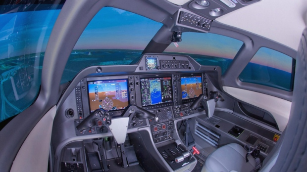 Interior of CAE's Phenom 100 flight simulator