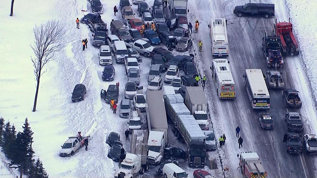 Nearly 100-vehicle pileup north of Toronto | CTV News Toronto