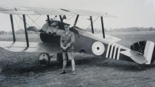 A photo of Canadian flying ace William Barker is on display at a ceremony unveiling a monument in his honour at a Toronto cemetery, Thursday, Sept. 22, 2011. (Pat Hewitt / THE CANADIAN PRESS)