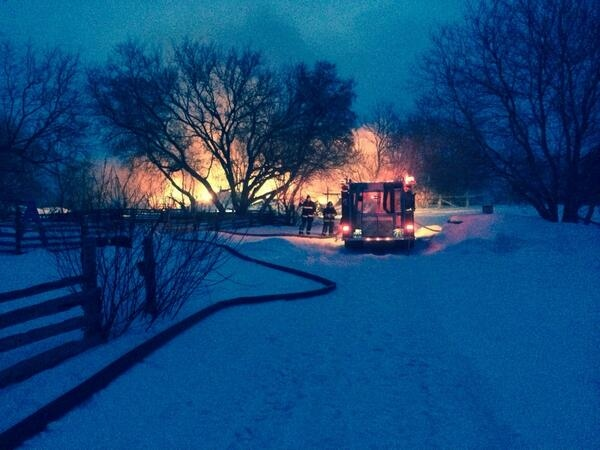 A barn fire north of Duntroon killed five cows on Thursday, Feb. 27, 2014. (Courtesy: Clearview Fire)
