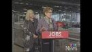 Ontario Premier Kathleen Wynne, right, and London North Centre MPP Deb Matthews speak at the Brose plant in London, Ont. on Thursday, Feb. 27, 2014. (Colleen MacDonald / CTV London)