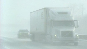 Drivers had to deal with whiteouts and delays due to crashes along Highway 401 at London, Ont. on Thursday, Feb. 27, 2014. (Justin Zadorsky / CTV London)