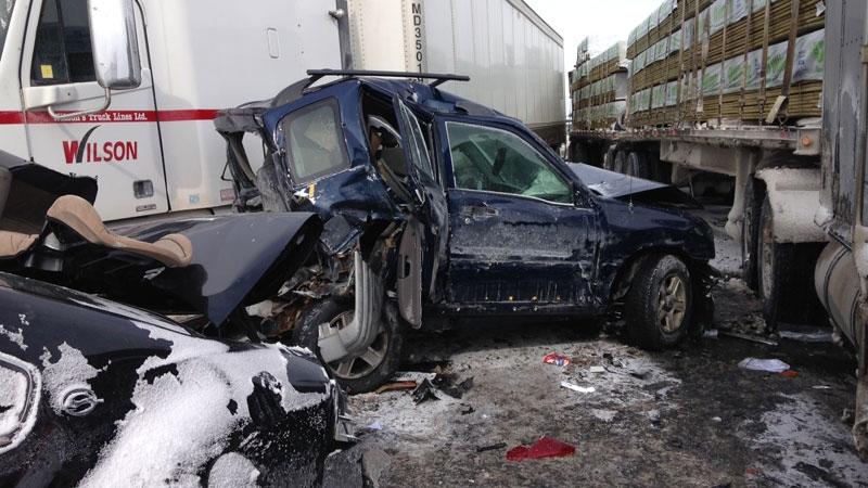 Nearly 100-vehicle pileup north of Toronto | CTV News