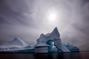 An iceberg is seen off Ammassalik Island in Eastern Greenland on July 19, 2007. (AP / John McConnico)