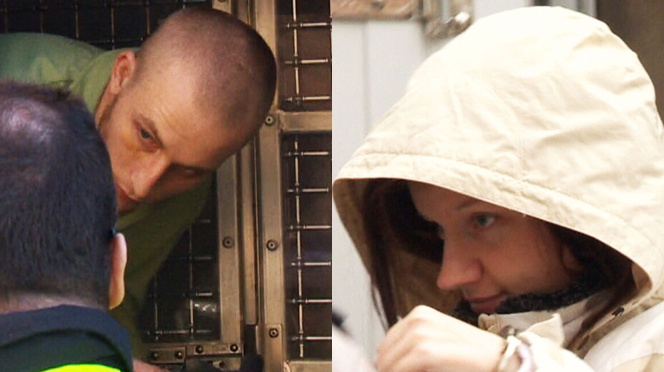 This combination photos shows Blake Leggette, 25, Victoria Henneberry, 28, arriving to court on Thursday, Feb. 27, 2014.