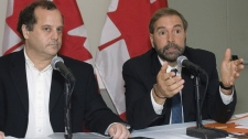 Brian Topp and Thomas Mulcair are seen in a file photo from September 2008