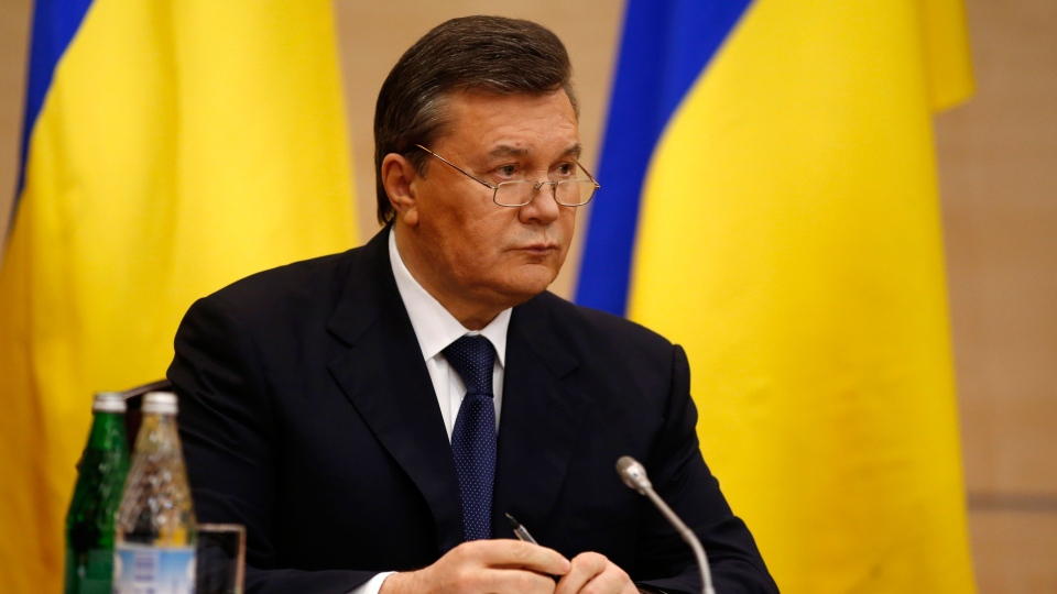 Ukraine's fugitive President Viktor Yanukovych speaks at a news conference in Rostov-on-Don, a city in southern Russia about 1,000 kilometres from Moscow, Friday, Feb. 28, 2014.  (AP / Pavel Golovkin)