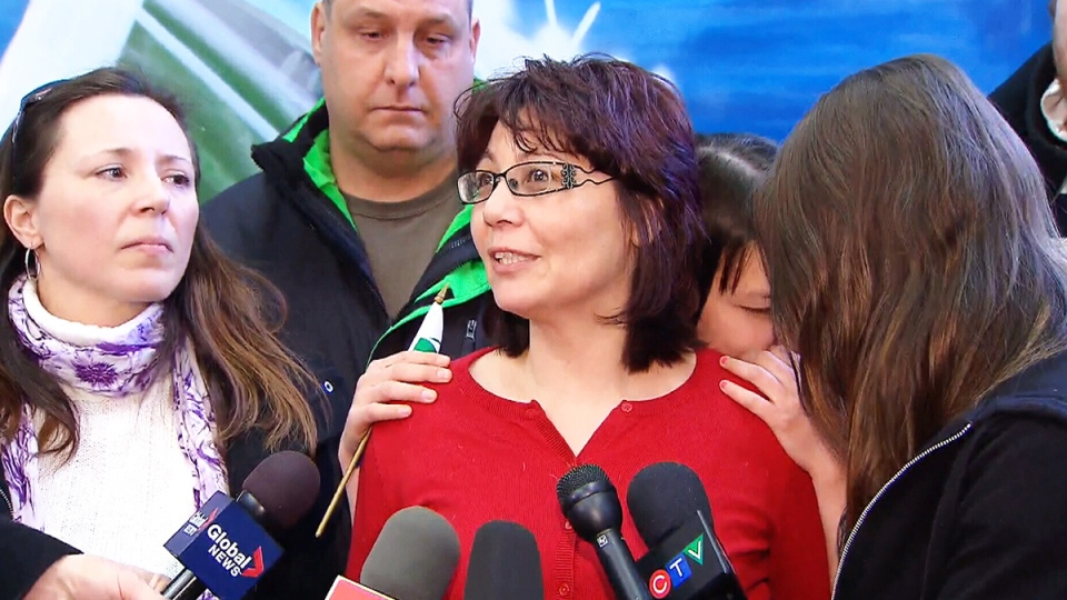 The family of Loretta Saunders speak to reporters for the first time since her body was discovered, in Halifax, Friday, Feb. 28, 2014.