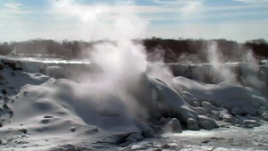 Extended: Waters of Niagara Falls freezing over