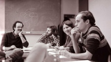 Brian Topp is seen participating in a news meeting at the McGill Daily newspaper in his university days.
