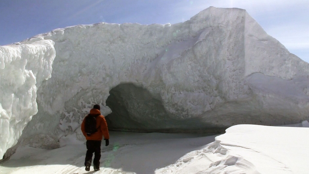 An ice cave is seen in Georgian Bay in Ontario.