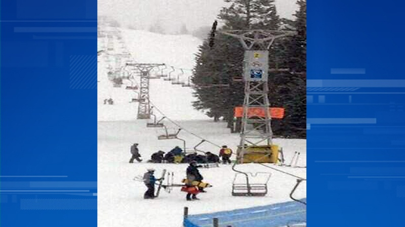 Emergency crews respond after a chair reportedly fell from a cable at Crystal Mountain Ski Resort in West Kelowna, March 1, 2014. Four people were reportedly injured in the incident. (Twitter/@PlywoodQueen)
