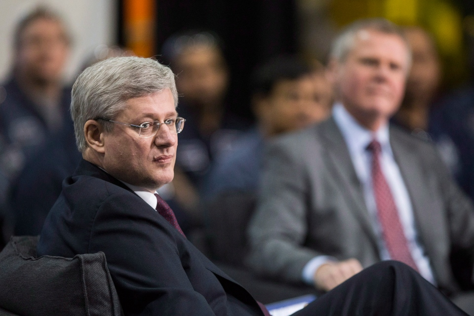 Prime Minister Stephen Harper participates in a moderated question and answer session in Brampton, Ont., on Feb. 28, 2014. (Chris Young/THE CANADIAN PRESS)
