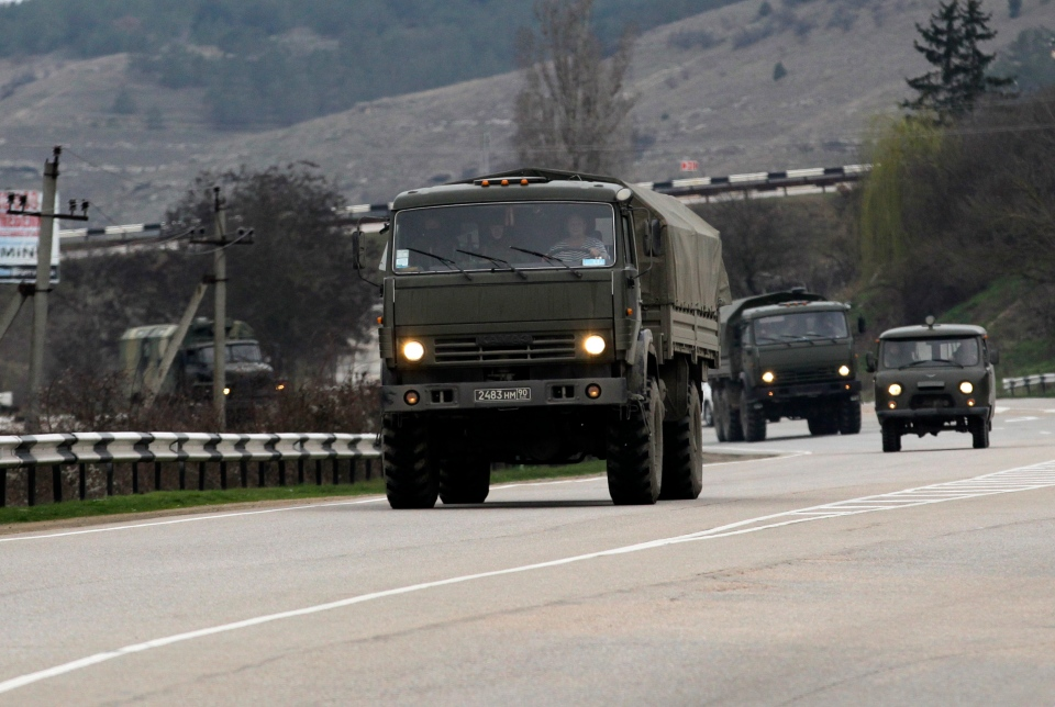 A Russian convoy moves from Sevastopol to Sinferopol in the Crimea, Ukraine, Sunday, March 2, 2014. (AP / Darko Vojinovic)