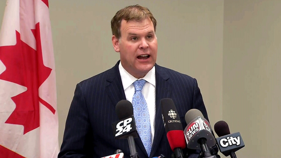 Foreign Affairs Minister John Baird speaks about Ukraine from Toronto, Sunday, March 2, 2014.