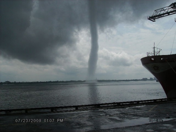 A funnel cloud reportedly created a rare waterspout over the St. Lawrence River at Montreal Harbour on Wednesday, July 23, 2008. (Barry Caine / MyNews.CTV.ca)