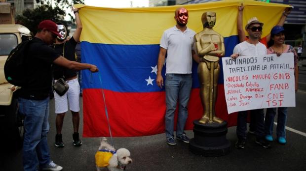 Protesters in Caracas, Venezuela