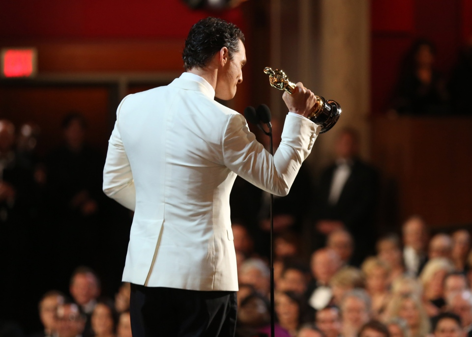 Matthew McConaughey accepts the award for best actor in a leading role for 'Dallas Buyers Club' during the Oscars at the Dolby Theatre on Sunday, March 2, 2014, in Los Angeles. (Matt Sayles / Invision)