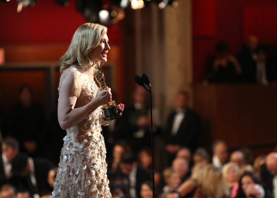 Cate Blanchett accepts the award for best actress in a leading role for 'Blue Jasmine' during the Oscars at the Dolby Theatre on Sunday, March 2, 2014. (Matt Sayles / Invision)